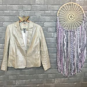 cartonnier // glam champagne silver linen blazer 8